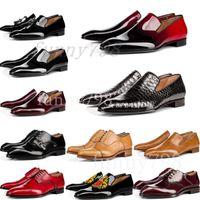 красная формальная обувь для мужчин оптовых-[с коробкой] 20-х годов красные днища роскошный дизайнерский бренд chaussures мужские платья формальная обувь из натуральной кожи мужчины красные нижние дизайнеры обувь