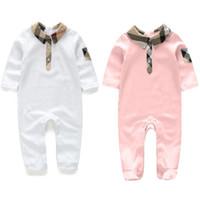 padrão de manga longa bebê romper venda por atacado-Bonito bebê roupa de aniversário de algodão macio de manga comprida xadrez gêmeos bebê romper design de moda crianças crianças roupas