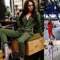 потные комбинезоны оптовых-Женщины Lady Tracksuit Потливость Толстовка Bodysuits спортивная одежда Повседневная Длинные рукава молнии кардиган с капюшоном Комбинезон Romper игровая одежда