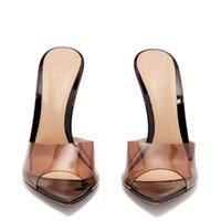 ingrosso ciabatte personalizzate-2019 New Fashion super tacchi alti scarpe a punta trasparente personalizzato donna signora casual scarpe da festa di nozze slipper spedizione gratuita