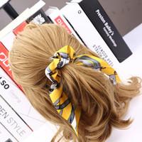 cabelo grande cauda venda por atacado-Mulheres Vintage Big bowknot fita de cabelo Scrunchies Imprimir Titular Tecido Cabelo laços de cabelo 10 cores Quality Satin Ear Titular Hairbands Pony Tails