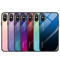 Wholesale iphone colorful tempered glasses for sale – best Colorful Gradient Phone Case Shockproof Gradient Tempered Glass Case Soft Silicone Edge Tempered Glass Cover for Iphone X XS