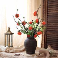 ingrosso frutta di vite-Simulazione piante rampicanti ramo 6 frutto cachi frutta forma floreale bacca decorazione della casa accessori piante finte