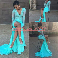 dac690a8646 Wholesale chiffon split front maternity dress online - Sexy Hollow Lace  High Split Mermaid African Prom