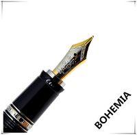 gemas superiores al por mayor-Top serie de lujo Bohemie Resina negra Oro Plata Clip Clásico Pluma estilográfica 4810 Tamaño medio 14k NIb con joya Alemania MB Número de serie