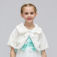 Wholesale baby soft jacket resale online - Children clothes Winter Wedding Faux Fur Bolero Baby Girls Soft Party Coat Pearl bow Kids Fall Wedding Cape Princess cloak