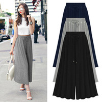 Wholesale women dresses pants resale online - Summer High Waisted Wide leg Cropped Pants for Women Elastic Waist Large Size Loose Ladies Trousers Dress Casual Holiday