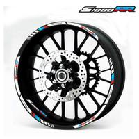 envolturas de fibra de carbono púrpura al por mayor-Para las etiquetas de las ruedas de la motocicleta BMW S1000RR pegatinas reflectantes llanta rayas de color # 4