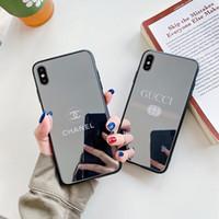 iphone más teléfono móvil al por mayor-Nueva carcasa de espejo de marca de diseño, adecuada para iPhone x XR x s Max 6S 7 8 más lujo a prueba de golpes
