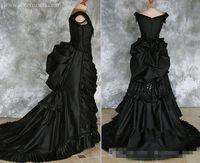 vestidos victorian steampunk venda por atacado-Tafetá Frisada Gótico Vitoriano Bustle Vestido com Trem Vampiro Bola Masquerade Halloween Black Wedding Dress Steampunk Goth do século 19