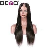 22 inç dantel perukları toptan satış-U Parçası Peruk Brezilyalı Düz Dantel Ön Peruk İnsan Saç Peruk Siyah Kadın Doğal Saç Çizgisi Remy Doğal Renk 10-26 Inç Beyo