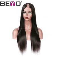color natural u parte peluca al por mayor-U parte peluca brasileña recta del frente del cordón peluca del pelo humano pelucas para mujer negra natural rayita Remy color natural 10-26 pulgadas Beyo
