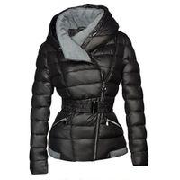 коричневый розовый пиджак оптовых-2019 зимние пальто женщин ветровки хлопок теплый толстый короткая куртка пальто с поясом тонкий повседневная молния готический черный верхняя одежда пальто