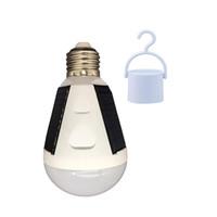 lámpara de luz solar de interior portátil al por mayor-Bombilla solar LED Luz de emergencia portátil 7W 12W E27 Lámpara solar Soalr Bombilla recargable Luz de la tienda de campaña para interior al aire libre