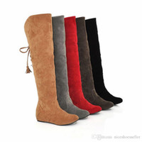 Wholesale sexy leather boots fur for sale - Group buy Sexy Suede Leather Fur Snow Boots Women Winter Warm Over The Knee Thigh High Boots Height Increasing Woman Shoes ADF