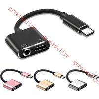 adaptateur prise jack achat en gros de-2 en 1 USB Type C À 3.5mm Prise d'écouteur Adaptateur pour Letv Xiaomi Aux Câble Audio Casque Chargeur Charge USB-C Convertisseur