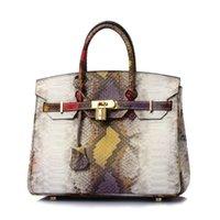 bolso de cuero de serpiente genuina de moda al por mayor-bolsos de platino con estampado de serpiente de nuevo diseñador Harms 25cm bolsos de moda para mujer bolsos de diseñador de cuero genuino bolsos de diseñador de litchi bolso de lujo para mujer