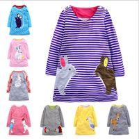 adretter stilstreifen großhandel-Einzelhandel 8 Farben Baby Mädchen Designer Kleidung Weihnachten Neujahr Hirsch Streifen Tupfen Baumwolle Cartoon Kleid Prinzessin Kleider Kinderkleidung