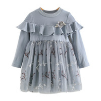Wholesale long sleeved lace dresses children resale online - Best selling four seasons new girls skirt princess dress children stitching long sleeved lace skirt dress