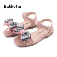 Wholesale baby pink cute sandals resale online - Bakkotie Summer New Baby Girls Fashion Bowtie Sandals Princess Sweet Soft Cow Muscle Sandals Kids Cute Pink Causal Dress Shoes