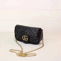 Wholesale long handbags resale online - 2019 Women Marmont Messenger Bag Long Chain PU Leather Designers Shoulder Bags Ancient Gold Chain Waist Handbags Totes Hobos