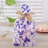 ingrosso sacchetti di regalo in plastica viola-250 X New Purple Christmas Theme Sacchetto di plastica con coulisse Cookie Snack Candy Birthday Party Party Decor Gift Bags