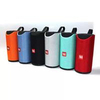 stoffspalten großhandel-Bluetooth-Lautsprecher TG113-Gewebe Bluetooth-Musik-Player-Spalten-Lautsprecher im Freien wasserdichte Karte Audio Dual-Lautsprecher