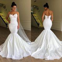 Wholesale wedding dresses mermaid lace silver resale online - African Plus Size Mermaid Corset Wedding Dresses Bridal Gowns Vestido De Noiva robe de mariée Spaghetti Neck Lace Up
