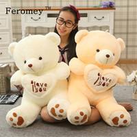 teddy-puppe große größe großhandel-Große Größe ich liebe dich Teddybär große Plüschpuppe Spielzeug hält Liebe Herz Teddybär weiche Stoffpuppe Geschenk für Freundin