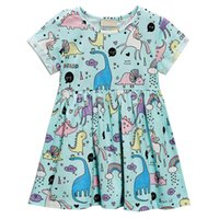 Wholesale boat above for sale - Group buy kids designer clothes Baby Girl Dresses Dinosaur Unicorn Full Print Beach Dress Cute Turned cuff M027