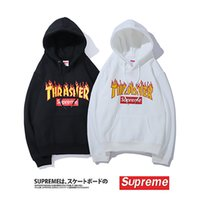 Wholesale men hoodies name brands for sale - Group buy Luxury Designer hoodies Supremm joint name Thrashee hip hop tide brand plus velvet hoodies Brand Designer High Quality hoodies Size M XXL