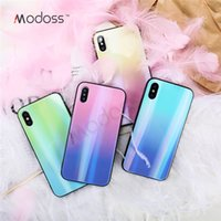 vasos de colores templados al por mayor-Modoss Luxury Aurora Laser Tempered Glass Phone Case para Iphone XS XR XS MAX X 8 7 degradado colorido cubierta trasera Shell