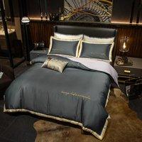 ipek yatak takımları lüks yorgan setleri toptan satış-Lüks Comforter / Nevresim Nevresim Düz Sheet donatılmış jakarlı fırfır set işlemeli yorgan ipek Katı Yatak Setleri yıkanır
