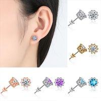 Korean Women Men Black Gold Filled Blue Round Opal Crown Styd Earring Jewelry
