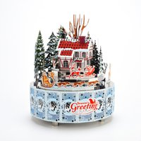 Wholesale musical decor resale online - Winter Snowscape Theme DIY Metal Music Box Clockwork Handmade Crafts Home Decor with Remote Control Light Musical Toy Gift SH190913