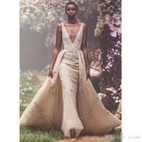 Wholesale short celebrities online - Paolo Sebastian Plus Size Prom Dresses Overskirt Sexy Deep V NeckVestidos De Fiesta Appliqued Tulle Formal Celebrity Evening Gowns