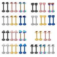 Wholesale Men Women Universal Lip Chin Ring Round Triangle Love Heart Shaped Labret Stainless Steel Nose Ear Bar Stud Colorful hy BB