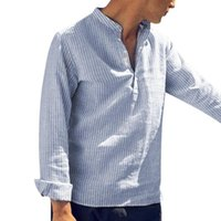 homens listrados v camisetas venda por atacado-2019 Camisa Listrada Dos Homens de Algodão de Manga Longa V Neck Tops Moda Blusa Solta Camisas Casuais Dos Homens Do Vintage Streetwear