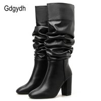 Wholesale footwear for women for sale - Group buy Gdgydh New Arrival Women Knee High Boots Mid Calf Sexy Pleated High Heels Shoes For Party Autumn Winter Footwear Female