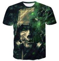 kafatası tişört kadınları toptan satış-Yeni Sıcak Satış Moda Yeşil Kafatası T-Shirt 3D Baskı Erkekler / Bayan Unisex Komik Yaz Yuvarlak Yaka Kısa Kollu Casual Hip Hop K743 Tops