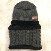 Wholesale baby scarf size resale online - Hot Sell Baby Kids Plush Hats Winter Warm Thickened Velvet Fleece Lining Knitted Hats with Scarf Average Size for Years