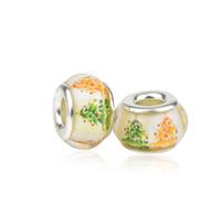 perles de lampwork noël achat en gros de-S925 Sterling Silver Core Arbre De Noël Lampwork Perles De Verre Charmes Fit Pandora Bracelets Collier DIY Bijoux Accessoires