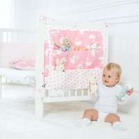 Wholesale baby diapers for cotton resale online - Baby Cotton Crib Bed Hanging Storage Bag Baby Crib Bed Organizer Toy Diaper Pocket for Bedding Set cm Mar26