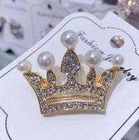 gelin broşları toptan satış-Kraliçe Taç Tasarımcı Broş Rhinestone Broş Pin Düğün Gelin Buketi Pimleri Broşlar Moda Takı Sıcak Satış
