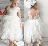 Wholesale tiered tulle dresses for little girls for sale - Group buy Most Cute A Line Jewel White Ivory Tiered Tulle Lace Flower Girls Dress For Wedding Tea Length Tulle Little Girls Party Communion Gowns