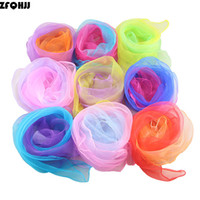 Wholesale small square chiffon scarves resale online - ZFQHJJ Women Gradient Color Square Scarf Imitated Silk Scarves Girls Dancing Small Scarf Thin Chiffon