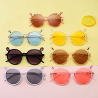 Wholesale kids cartoon sunglasses for sale - Children Cartoon Round Frame Sunglasses Boy Girl Cute Rabbit Ear Shaped Eyewear Kids Beach Sunshade Anti UV Glasses RRA564