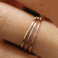 ingrosso colore bague-Impilabile anelli sottili One Two Three Crystal Rose Gold Argento Colore Dainty Wedding Engagement Minimalista Anelli Bague regali Femme