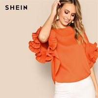 6d0673d953a1 SHEIN Neon Orange Zip Back Layered Pleated Sleeve Top Blouse Summer Women O- Neck Solid Elegant Office Lady Tops and Blouses