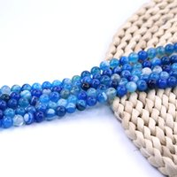 boncuk 4mm agate toptan satış-Mavi Şerit Akik Boncuk 4mm 92 adet / strand Yuvarlak Taş Boncuk Fabrikası set başına 15 inç strand